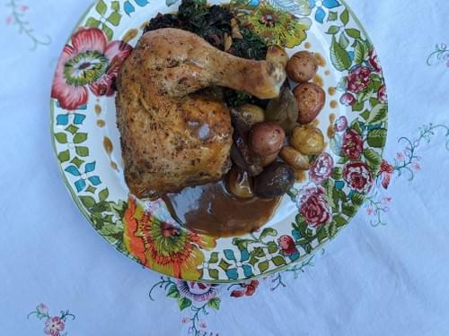 SPECIAL MENU APRIL 30th- Lemon-Herb Roasted Chicken, with New Potatoes, Garlicky Greens and Sherry W