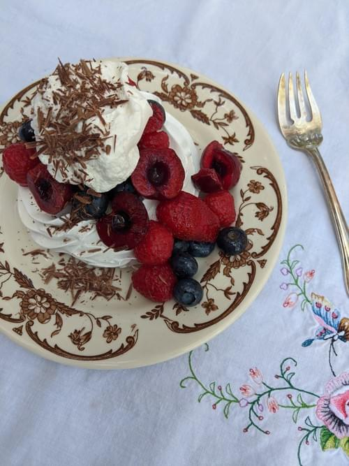 SPECIAL MENU APRIL 30th- Mini Pavlova with Whipped Cream and Fresh Mixed Berries
