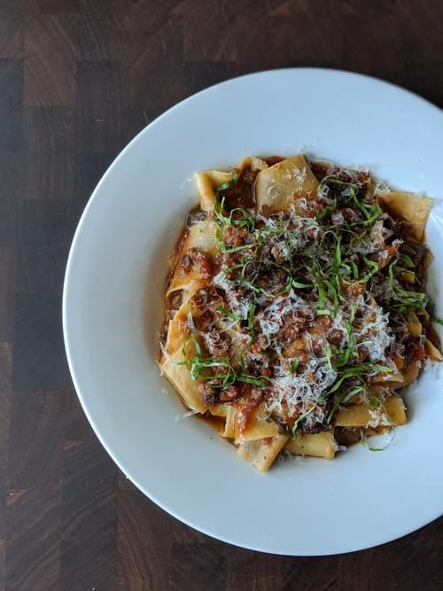Fresh Pappardelle (Shown with Nettle-Wild Onion-Pistachio Pesto and again with Off The Hook Ragu)