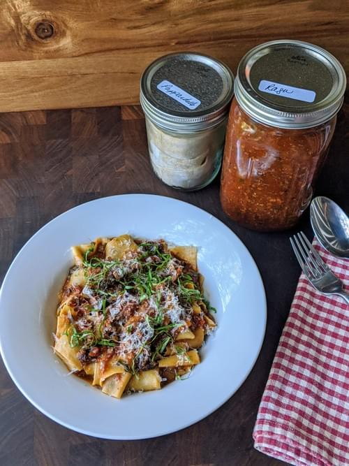 Fresh Pappardelle (Shown with Nettle-Wild Onion-Walnut Pesto and again with Off The Hook Ragu)