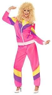 Women's 80s Height Of Fashion Shell Suit Fancy Dress Costume Pink