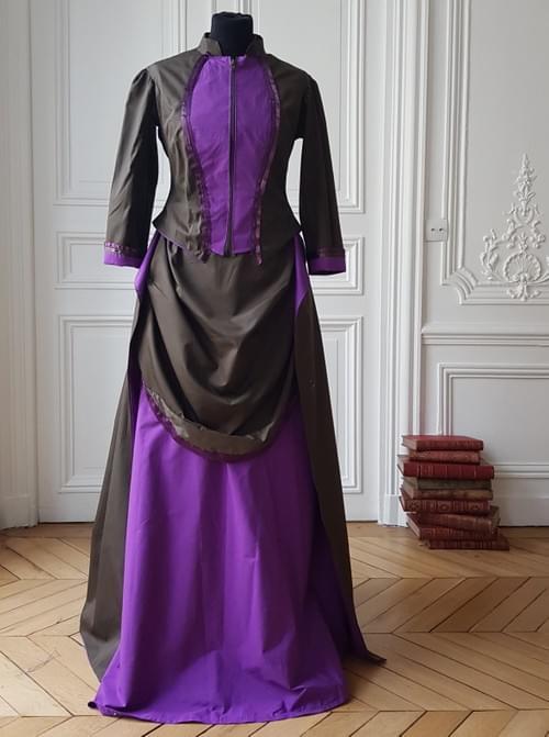 Ensemble Berthe kaki/violet - taille 36/38