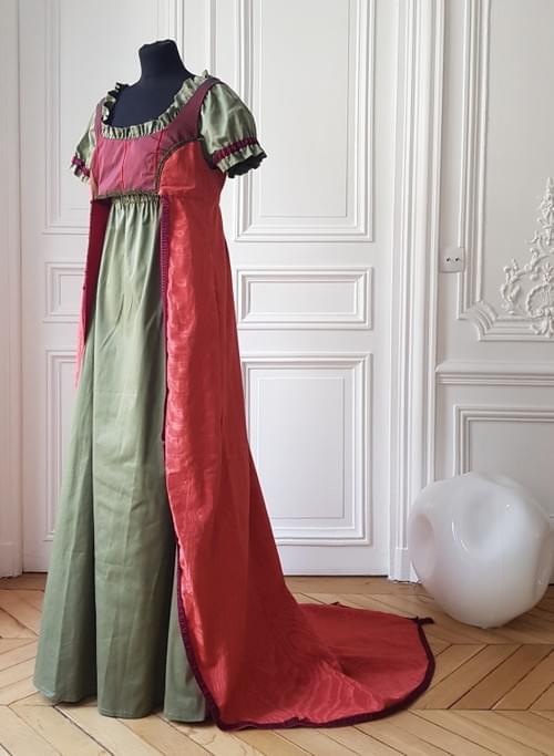 Ensemble Joséphine corail et vert fumé - taille 40