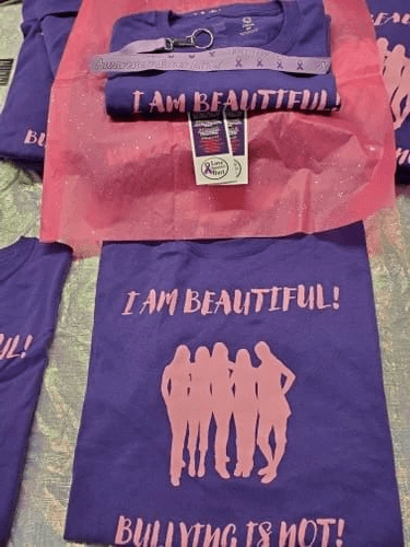 """I Am Beautiful! Bullying Is Not!"" Tee for Girls, Ladies, and Women"