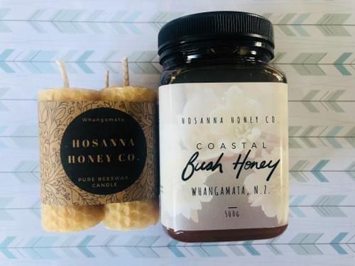 Gorgeous Gift Set (x1 500gm Bush Honey + x1 small triple Rolled Pillar Candles