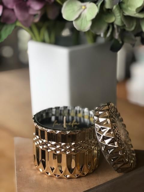 Signature Range 'La Vela' Beeswax Candle - Glam Gold