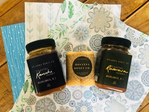 Goodness Gift Pack (x1 500gm jar each of Kamahi & Rewarewa + x1 triple set Mini Rolled Pillar Candes