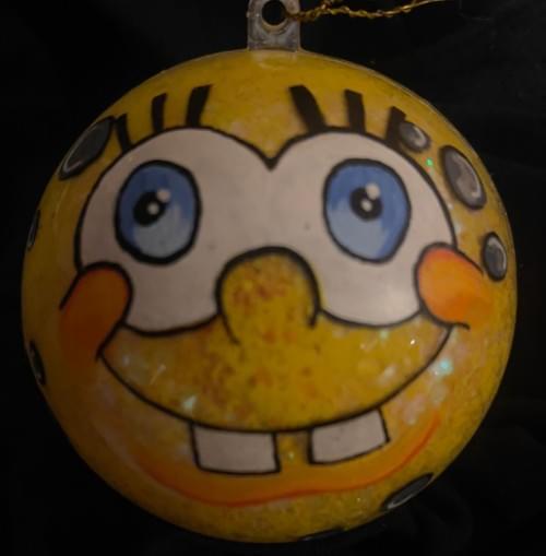 Hand painted ocean sponge cartoon ornament
