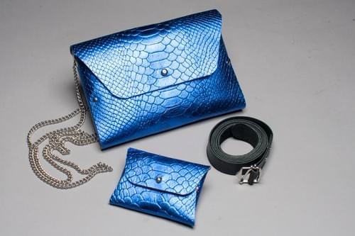 Ensemble Pliage 4 pièces croco bleu
