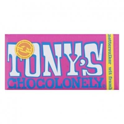 180 gram - Tony Chocolonely - Wit framboos knettersuiker