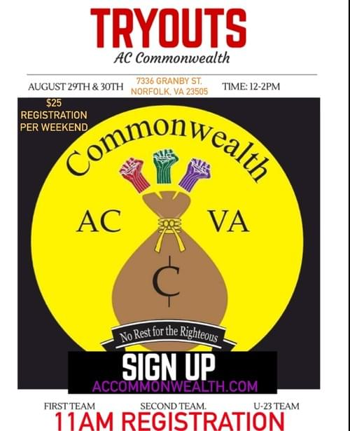 AC COMMONWEALTH FALL 2020 TRYOUT REGISTRATION (Weekend 2)