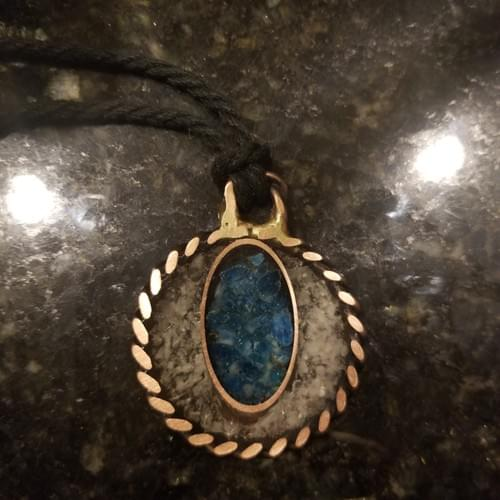 Emotional Pendant With Quartz and Blue Apatite in a tapered copper oval