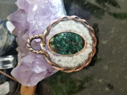 Emotional Ring with Selenite & Green Mica Pendant