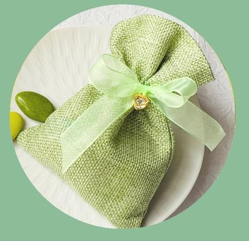 Pochon en jute vert - Dragées Amande & Chocolat - 60g