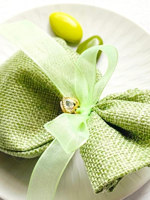 GREEN BURLAP BAG WITH CHARM - 60g