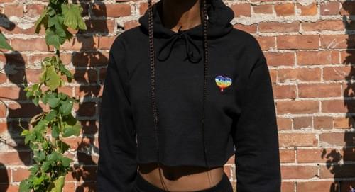 Black Heart Crop Hoodie