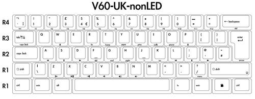 V60 ,ISO Keycap 62keys