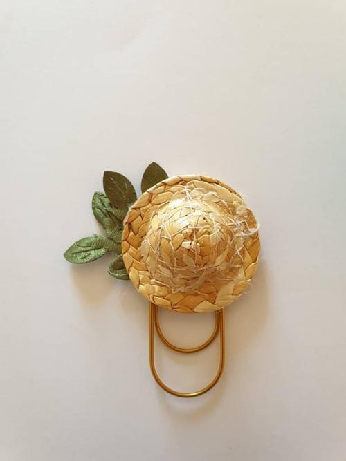 Paperclip collection mon petit jardin fleuri- chapeau de pai
