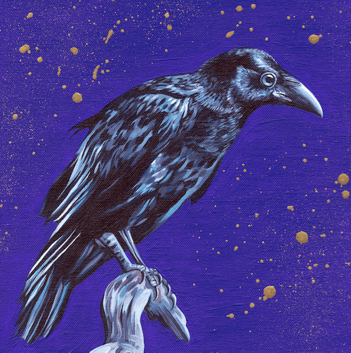 Gold Crow - Hand Painted, Limited Edition of 25, Fine Art Print