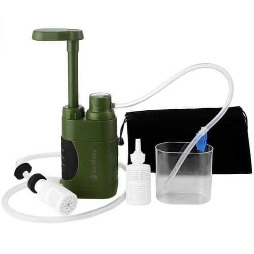 SurviMate Portable Water Filter Pump for Hiking Camping Travel Emergency use-K8187