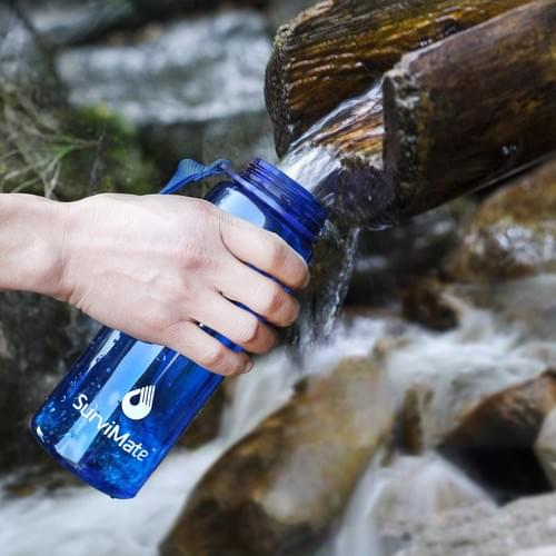 SurviMate Personal Water Filter Bottle with 2-Stage Integrated Filter for Camping Hiking-K8618