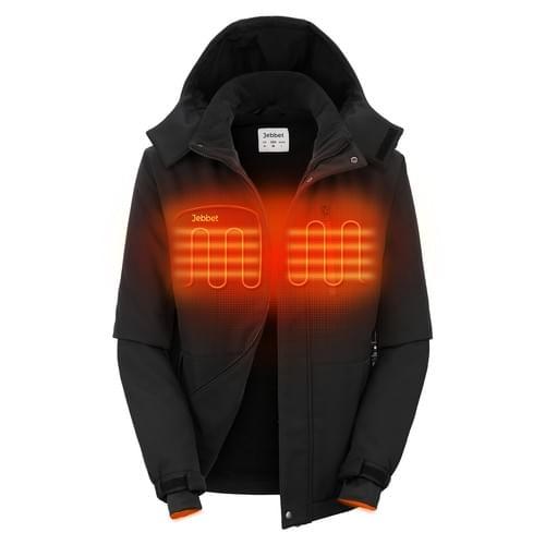 Men's Heated Jacket Windproof Softshell with Detachable Hood Water Resistant Coat(Black)