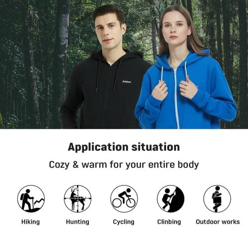 Heated Hoodie for Men and Women Heavyweight Fleece Hooded Sweatshirt (Unisex)(Black)