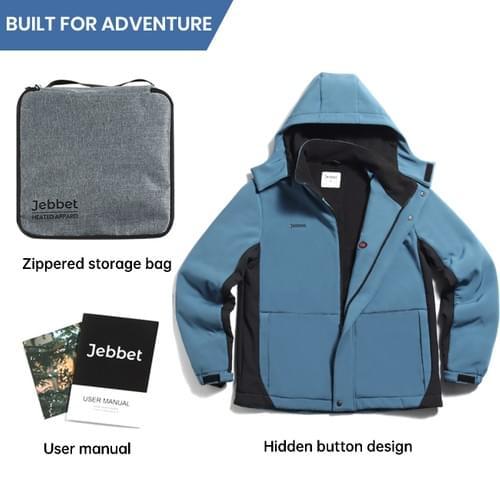 Men's Heated Jacket Windproof Softshell with Detachable Hood Water Resistant Heated Coat(Blue)