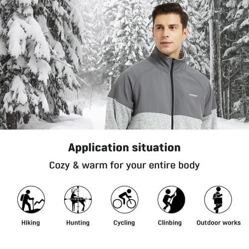 Men's Heated Jacket Lightweight Full Zip Heated Fleece Jacket(Gray)(Without power bank)