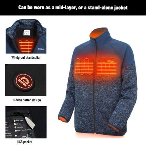 Men's Heated Jacket Lightweight Full Zip Heated Fleece Jacket(Blue)(Without power bank)