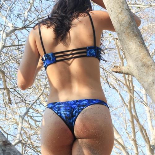 Bikini set cachetero azul, doble vista negro