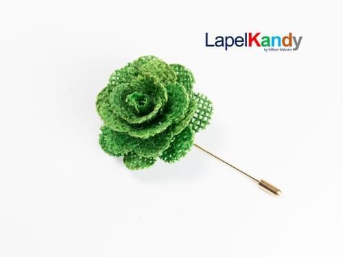 APPLE GREEN BURLAP LAPEL FLOWER