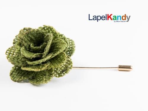 GREEN BURLAP LAPEL FLOWER