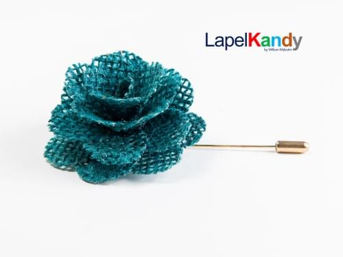 TILL BLUE BURLAP LAPEL FLOWER