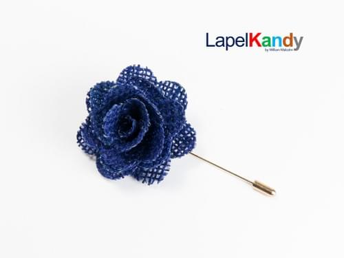 BLUE BURLAP LAPEL KANDY