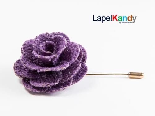 PURPLE BURLAP LAPEL KANDY