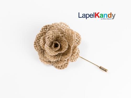 CREAM BURLAP LAPEL KANDY