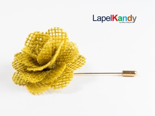 YELLOW BURLAP LAPEL KANDY