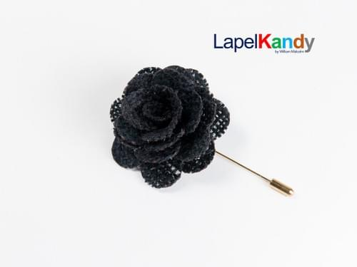 BLACK BURLAP LAPEL KANDY