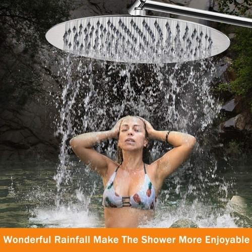 12 Inch Rain Shower Head with 11'' Adjustable Extension Arm, Large Stainless Steel High Flow