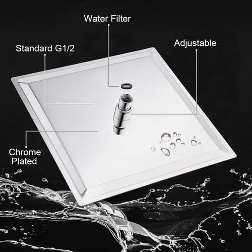 12 Inch Rain Shower Head with 11'' Adjustable Extension Arm, Large Stainless Steel Square Rainfall