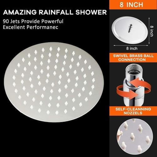 HIGH PRESSURE Shower Head, 8 Inch Rain Showerhead, Nearmoon High Flow Stainless Steel RainfallShower