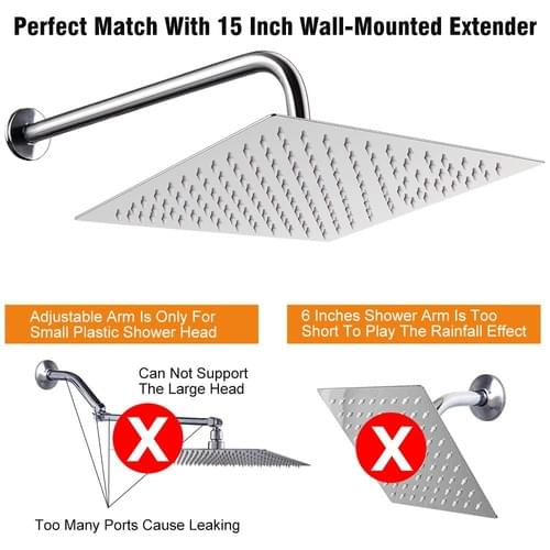 12 Inch Shower Head With 15 Inch Extension Arm, NearMoon Square Rain Shower Heads