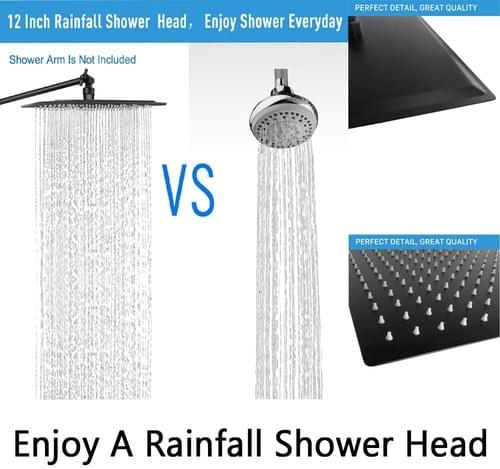 NearMoon 12 Inch Square Showerhead with 11'' Adjustable Extension Arm, Matte Black