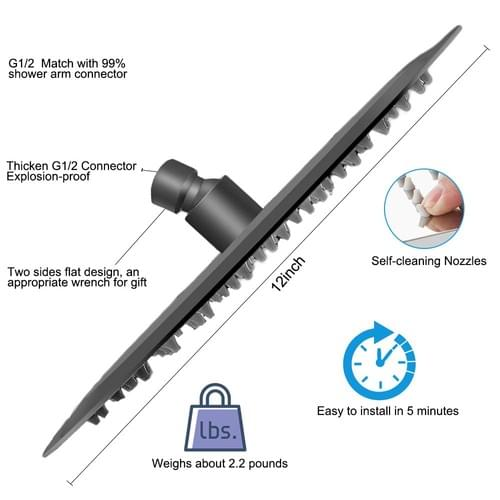 12 Inches Round Shower Head, NearMoon Stainless Steel Rain Shower Head Full Body Covering with Power