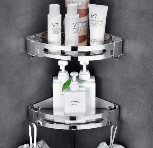 NearMoon Bathroom Corner Shelf Shower Caddy 2 Pack, No Drill, 304 Stainless Steel, with Two Hooks