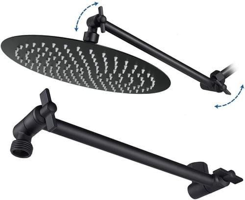 NearMoon 8-Inch Shower Head with 11'' Adjustable Arm, Matte Black, High Pressure Round