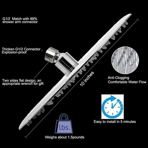 10 Inch Rain Shower Head with 11'' Adjustable Extension Arm, Large Stainless Steel High Flow Round R