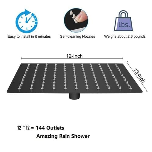 12 Inch Shower Head With 15 Inch Extension Arm, NearMoon Oil Rubbed Bronze (Black) Stainless Steel S