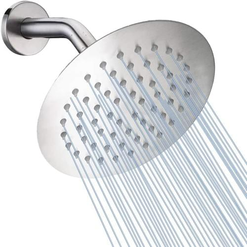 High Pressure Shower Head, 6 Inch Rain Showerhead Brushed Nickel, NearMoon Ultra-Thin Design